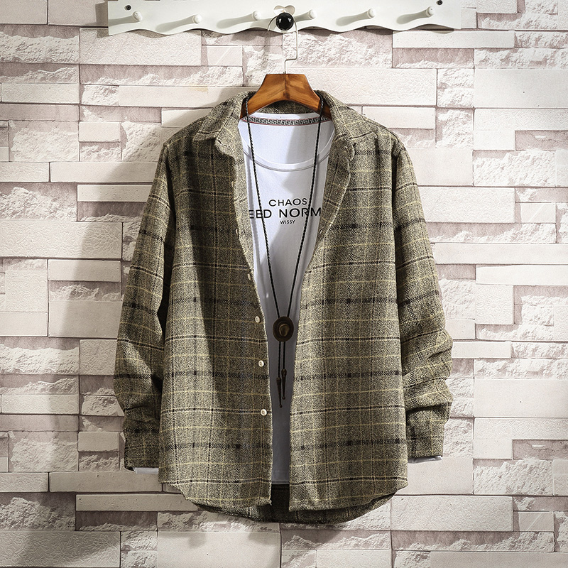 Ins super fire autumn Long Sleeve Plaid Shirt Mens frosted loose casual coat student shirt trendy inch shirt