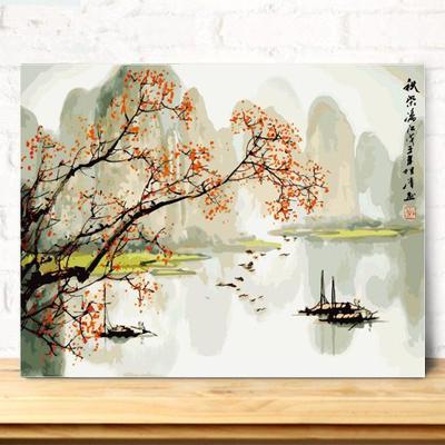 油彩画大幅山水风景客厅手工绘填色装饰画数字油画diy秋染丽江