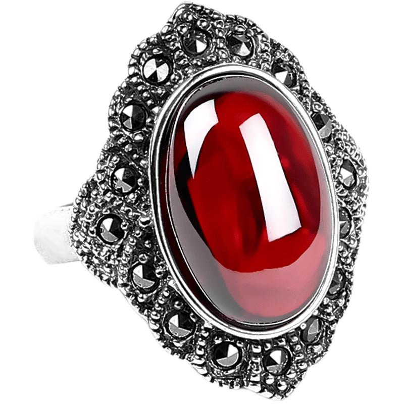 嘉顺复古泰银925红蓝宝石石榴石食指中指大戒指女活口欧美银饰品