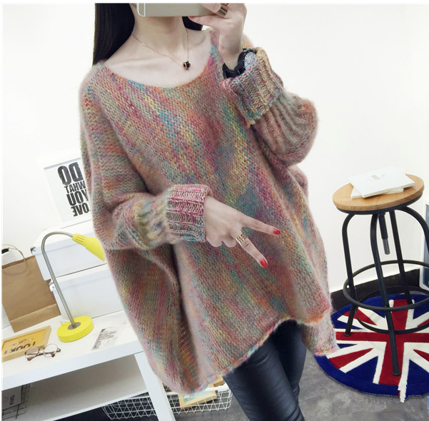 Autumn and winter new womens clothing Korean color bat sleeve Cape loose medium length Pullover Jacket sweater