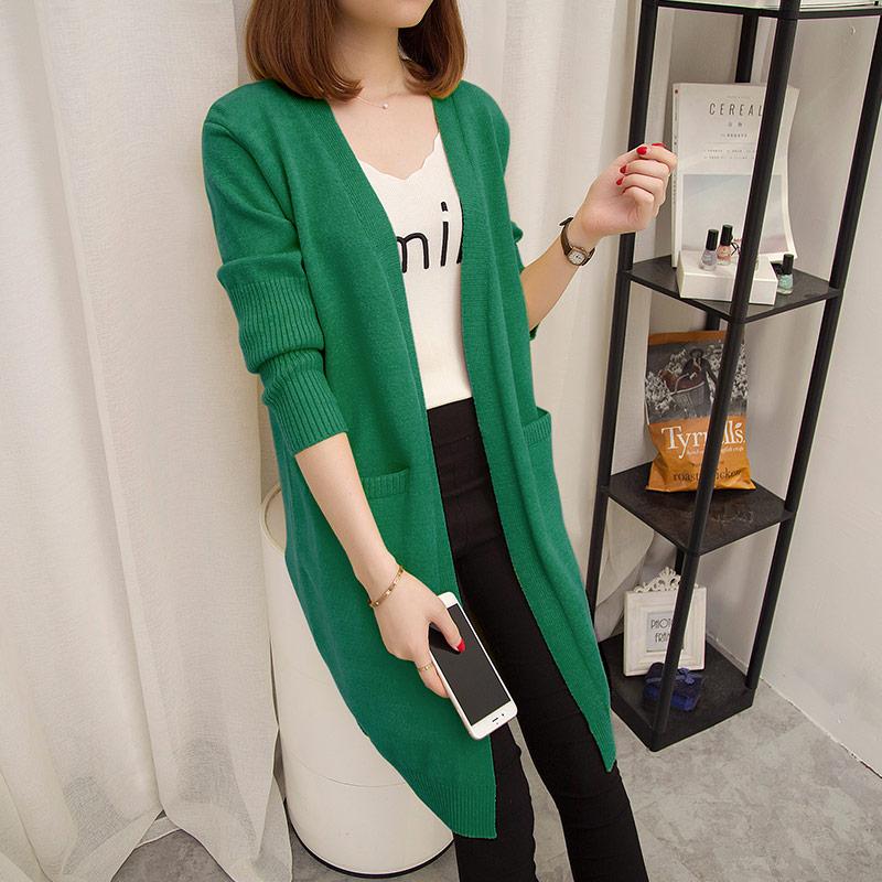 外套女春秋2018中长款宽松纯色针织开衫外搭韩版新款口袋长袖毛衣