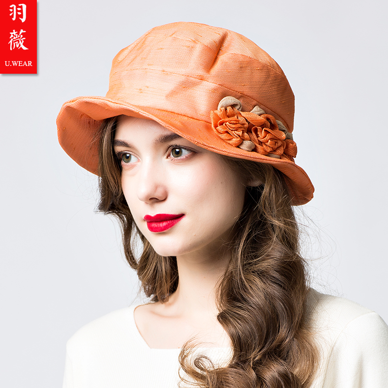 Yuwei travel womens sunshade hat group flower small brim hat retro literature and art spring and summer womens hat can be folded