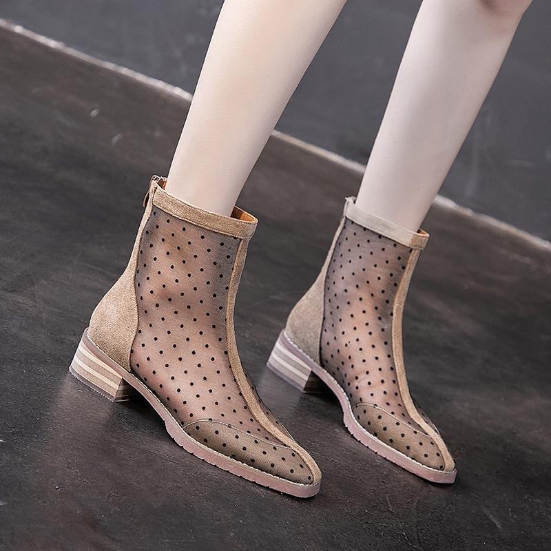 罗马凉靴子女鞋波点网纱短靴2019新款真皮镂空网靴夏季凉鞋超火潮
