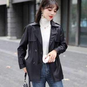 秋冬装2021年新款百搭时尚中长款收腰皮衣外套女士韩版洋气皮夹克