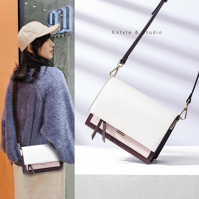Kstyle簡約小方包真皮風琴包斜挎小包包女2019新款潮時尚百搭單肩