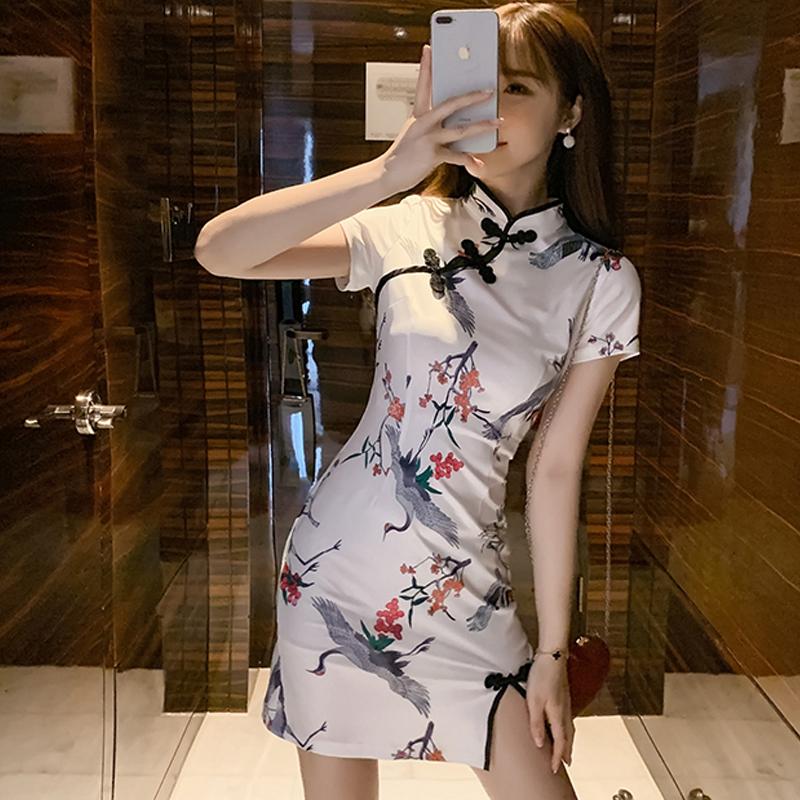 2020夏新款改良版时尚主播中国风短款旗袍年轻款少女现代连衣裙女