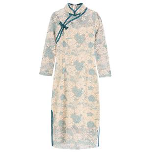 復古中國風女人味旗袍2020夏季新款氣質名媛修身蕾絲開叉連衣裙