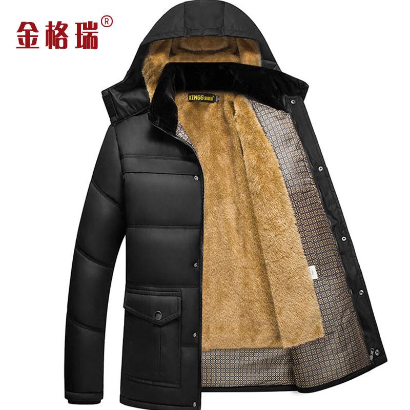 加绒加厚中年男士棉衣外套棉服冬装口袋款中老年男装棉袄爸爸装