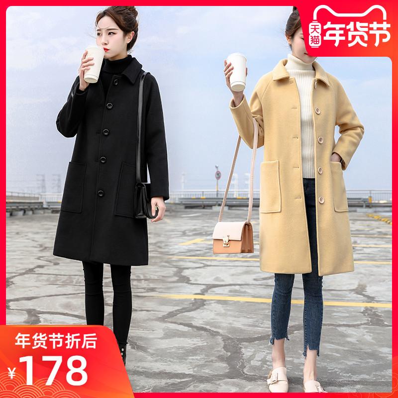 毛呢外套2019年新款流行韩版宽松呢子大衣小个子女秋冬中长款妮子