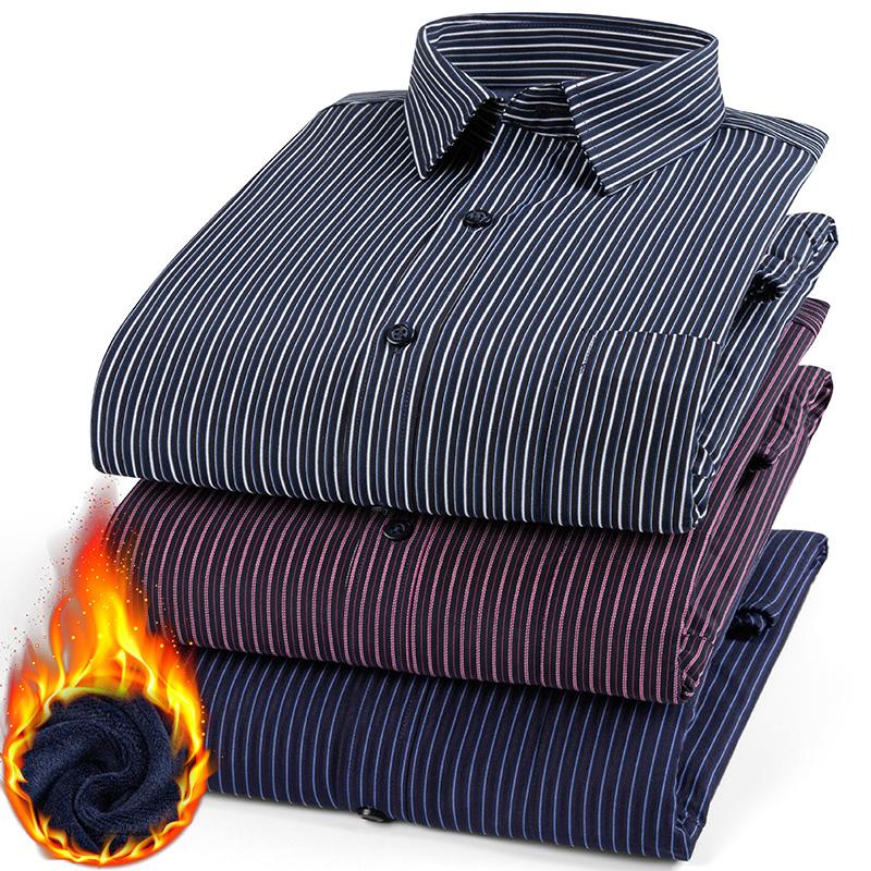 冬季保暖衬衫男长袖加绒加厚中年条纹衬衣商务男装双层棉衣工装潮