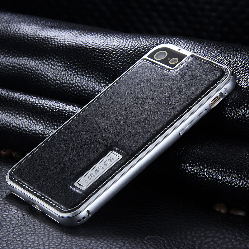 iMatch Luxury Aluminum Metal Bumper Premium Genuine Leather Back Cover Case for Apple iPhone 7 Plus & iPhone 7