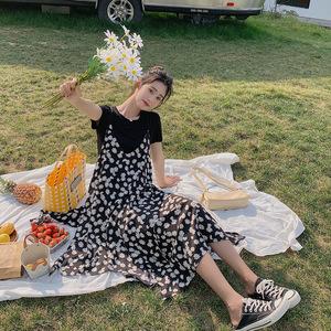小雏菊连衣裙女夏2020新款网红韩版显瘦雪纺碎花吊带裙子两件套装