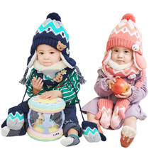 Baby hat Scarf Two set winter child boy girls autumn and winter wool ear protectors infant hat Tide