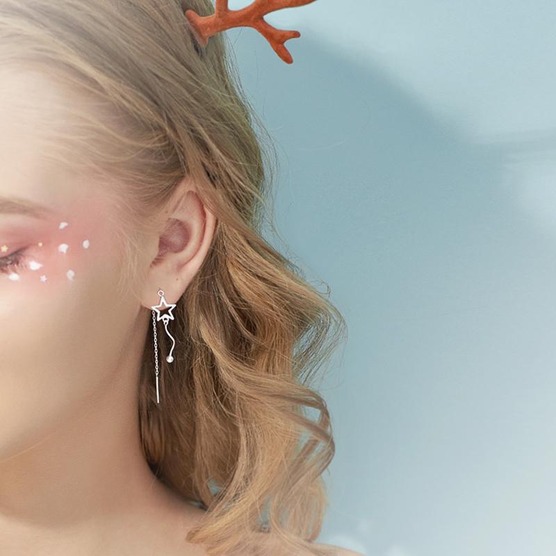 @小麋人 显脸小波浪流苏可爱星星设计S925纯银耳线长耳环耳坠女款