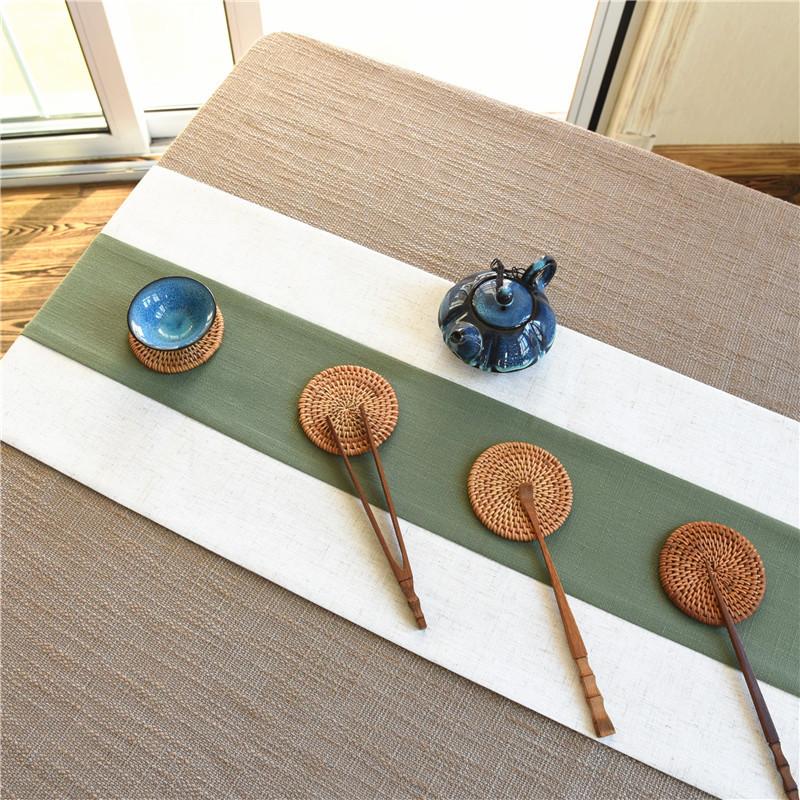 定做新中式绿色棉麻桌旗 禅意茶席亚麻现代简约茶旗中国风长条巾