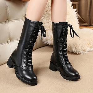 真皮马丁靴女2020新款英伦风粗跟高跟中筒靴百搭加绒显瘦长靴单靴