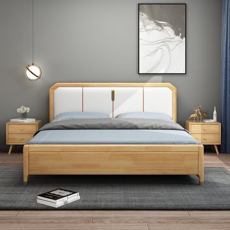北欧全实木床1.8米简约现代双人床气压软包1.5米高箱储物主卧婚床