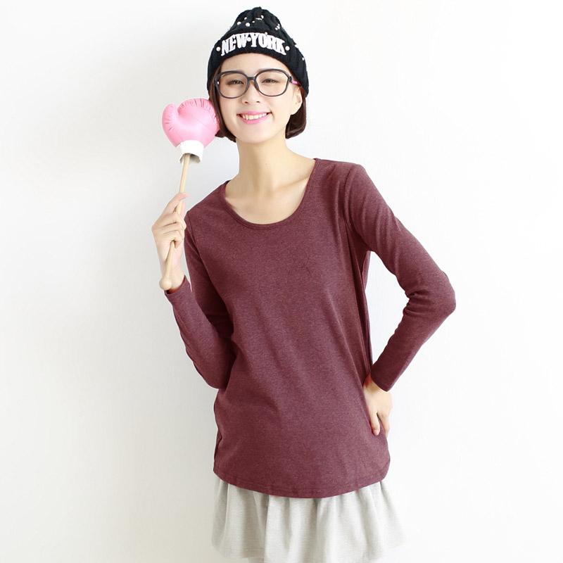 棉T恤加绒韩版装秋装上衣孕妇打底衫秋冬款打底衣服