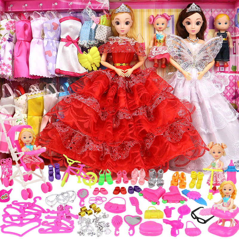 Sweet Barbie Doll Set Girl Wedding Dress, Children's Toy Princess Villa Castle Single