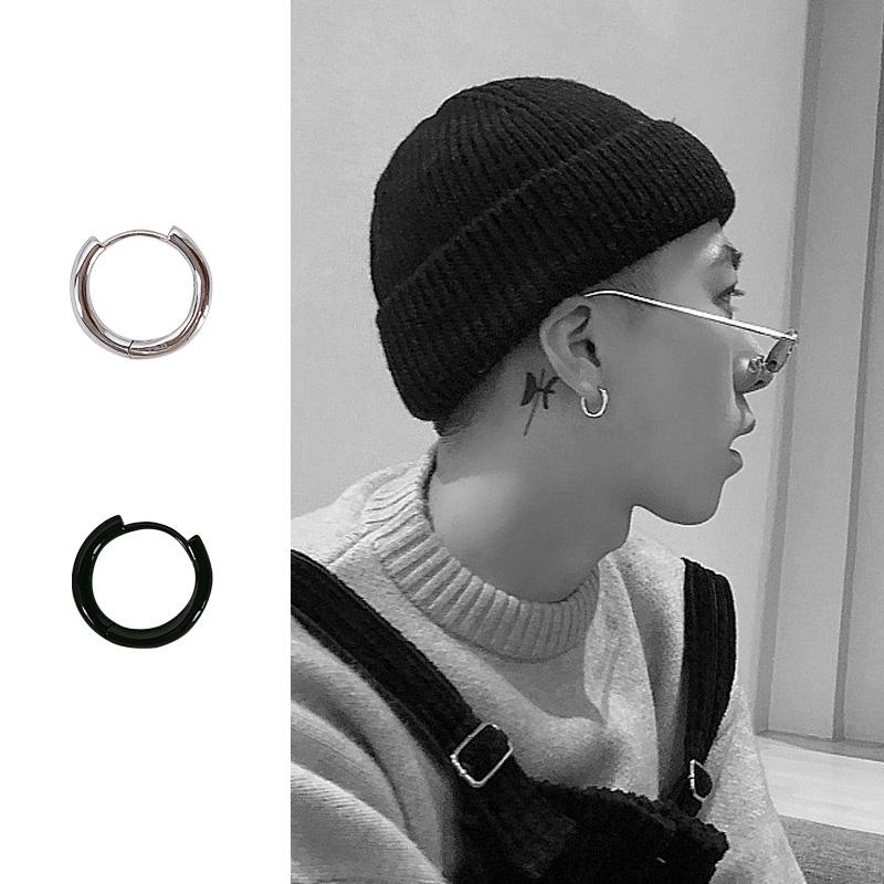 睡觉不用摘的耳钉 925纯银耳扣个性耳环黑色耳圈男女情侣款耳圈(非品牌)