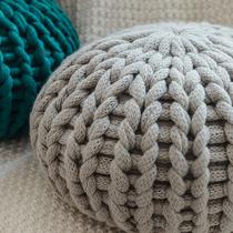 创意圆形蒲团抱枕北欧设计手工粗毛线沙发靠垫坐垫纯色靠枕装饰