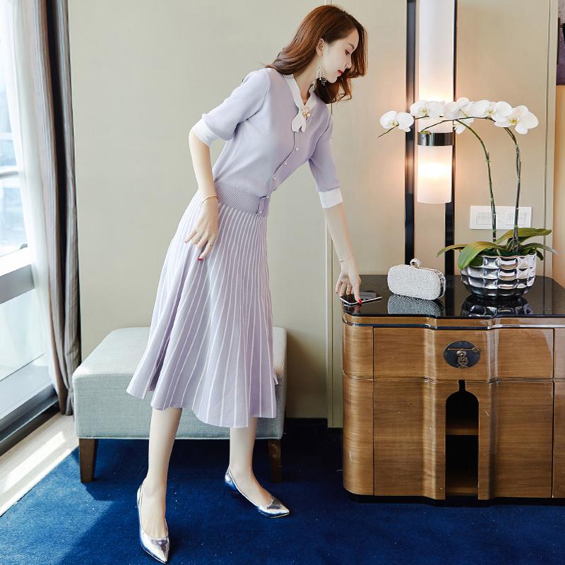 中长款针织连衣裙早秋装女装2018新款韩版时尚名媛气质两件套装裙