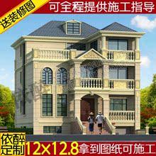 带地下室阁楼欧复式自建房屋建筑施工方案三层别墅图纸设计效果图