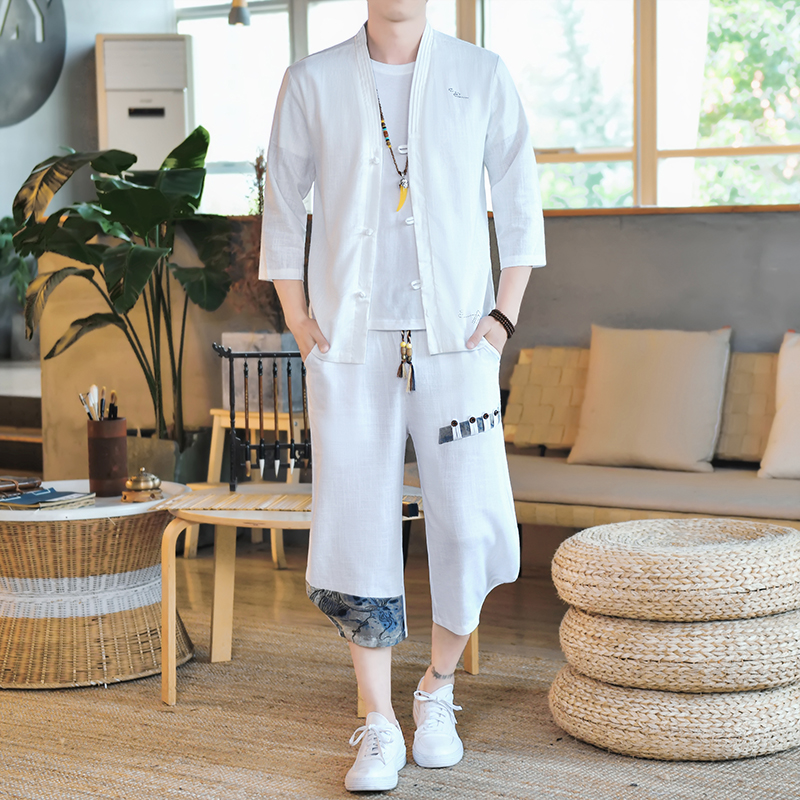 Chinese style Linen Shirt Mens thin breathable 7 / 3 sleeve cardigan top two piece mens large Han suit