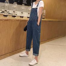 牛仔背带裤女2020 春秋新款时尚韩版宽松ins潮学生小个子复古港味