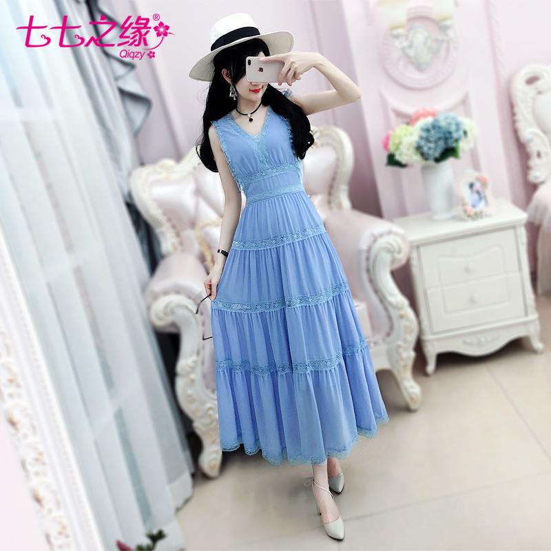 七七之缘2018夏季新款女装 蓝色蕾丝花边无袖背心雪纺长裙连衣裙