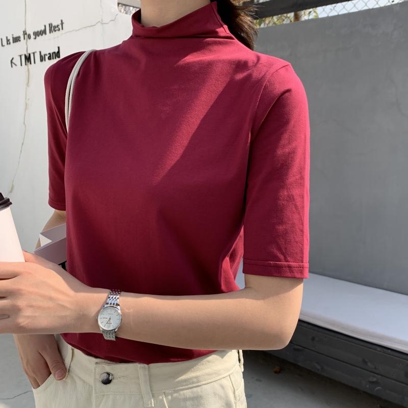 半高领短袖t恤女2020新款夏纯棉宽松内搭打底衫薄款五分中袖上衣图片