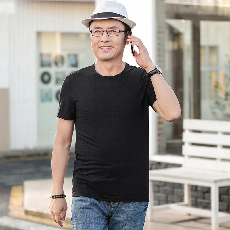爸爸装夏装短袖t恤翻领40-50岁中老年人男士夏款体恤上衣薄款潮流