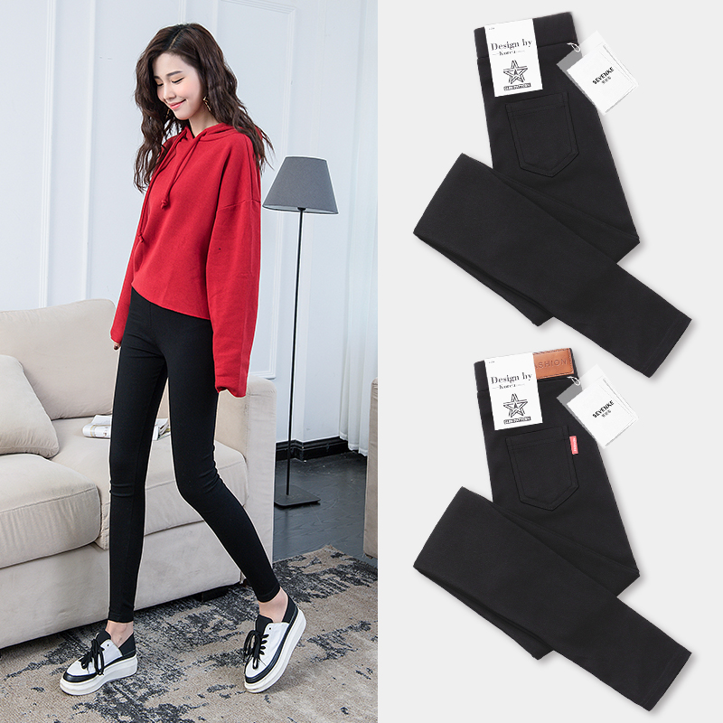 Plus velvet leggings autumn and winter outer wear thick pants 2017 new waist tight black pencil pants feet