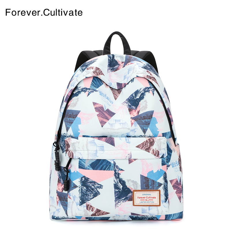 Forever cultivate书包女学生韩版 校园初中生背包印花双肩包女