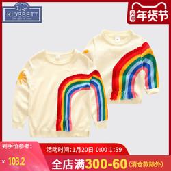 宝宝毛衣1-3岁母子洋气彩虹针织上衣婴儿秋冬上衣亲子装母女