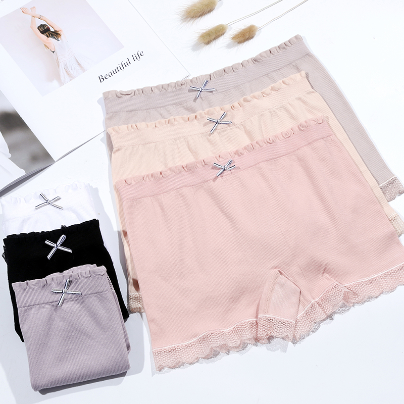Thin lace safety pants womens anti slip non crimping summer student insurance flat corner slim fit white bottomed shorts