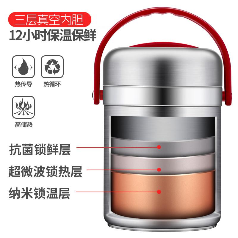 福帥304不鏽鋼保溫飯盒3層真空保溫桶不鏽鋼提鍋多層分格保溫飯桶