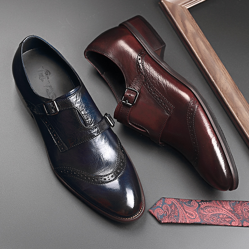 Vqgt2020 summer new sculpted business dress leather shoes leather buckle mens shoes monk mengke shoes cowhide tide