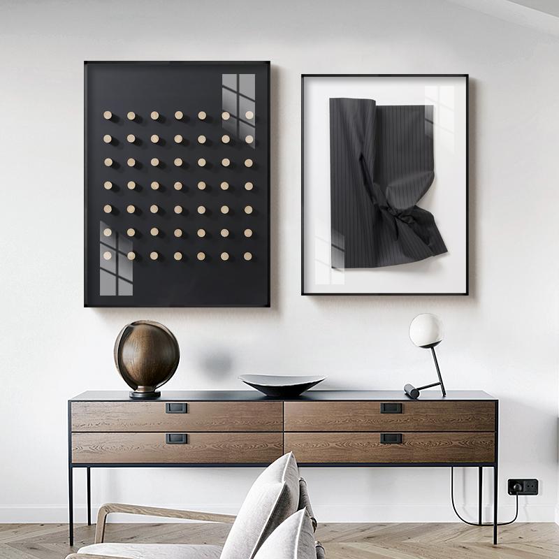 造物现代简约黑白灰工作室客厅壁画