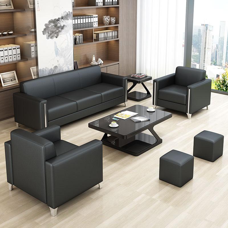 现代简约办公沙发商务接待会客洽谈4s店铺牛皮办公室沙发茶几组合