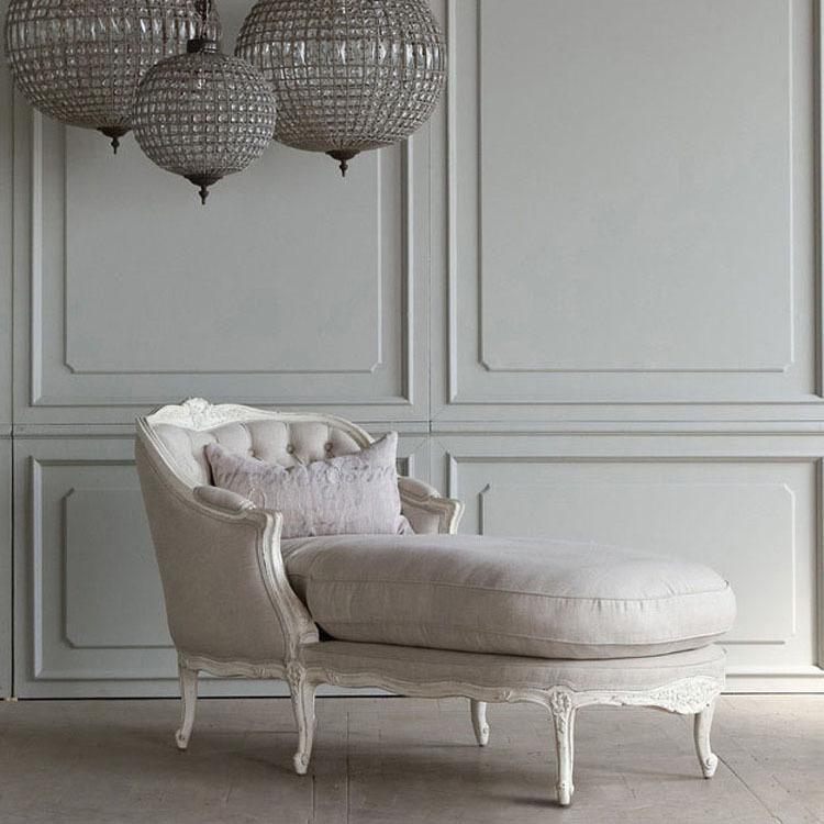 美式实木沙发贵妃椅美人榻 欧式贵妃椅卧室躺椅懒人沙发布艺沙发
