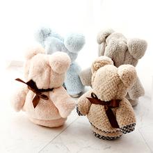 可爱小熊造型粉色浅蓝珊瑚绒毛巾婚庆生日满月百日宴年会伴手礼