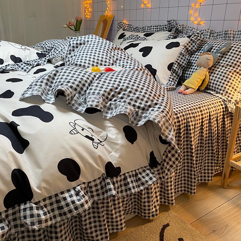 韩式床单四件套宿舍床上三件套被套单人床品套件夏季夏被罩床裙款