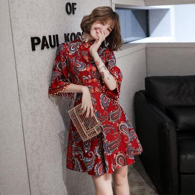 敬酒服新娘酒红色秋冬长袖冬天显瘦短款中国风旗袍中式结婚礼服女