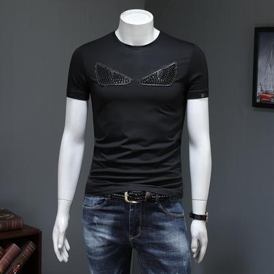 JP332 99168 P65 假模黑色 19春夏丝光棉圆领短袖T恤 拼皮男潮