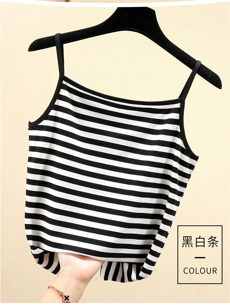 Comfortable black and white stripe sleeveless thin belt T-shirt elastic cross bar stripe versatile suspender vest for women