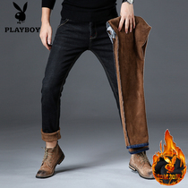Playboy Velvet Jeans Mens winter clothes new fashion mens pants thickened warm slimming mens pants Winter money