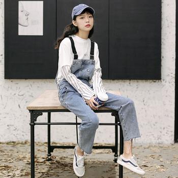 ins学生网红减龄背带2019牛仔裤