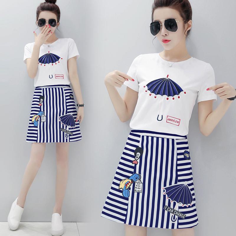 夏季套装女时尚两件套2018新款条纹裙套装裙女夏沙滩裙 海边度假