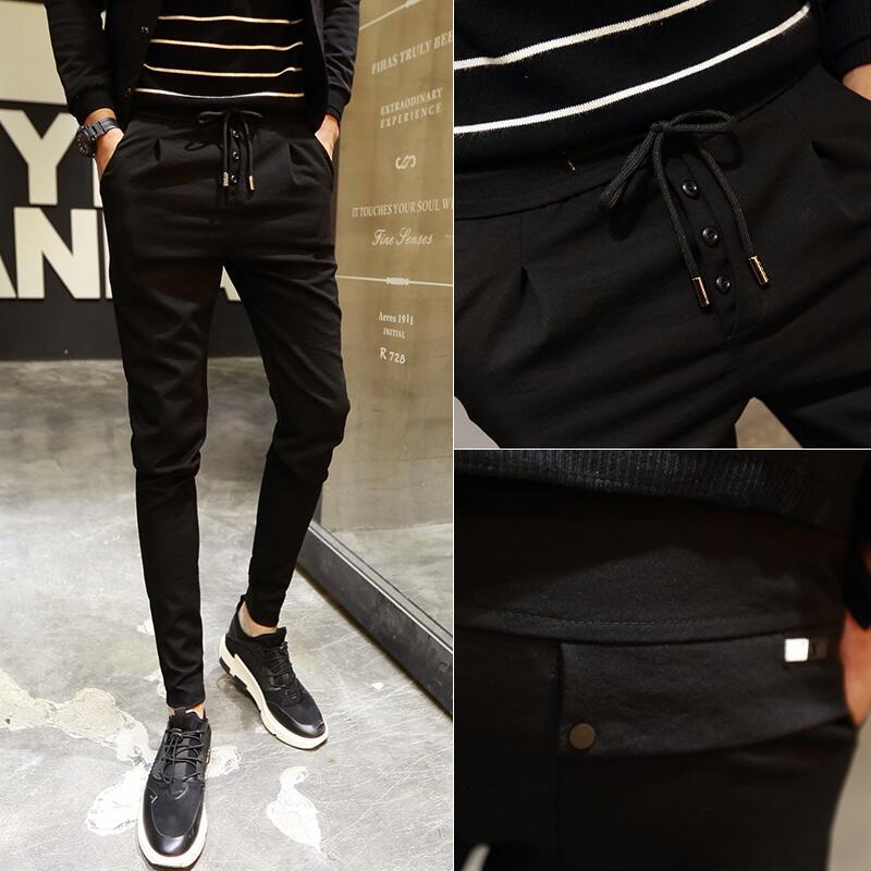 男士黑色韩版修身潮流夏季休闲裤正品保证